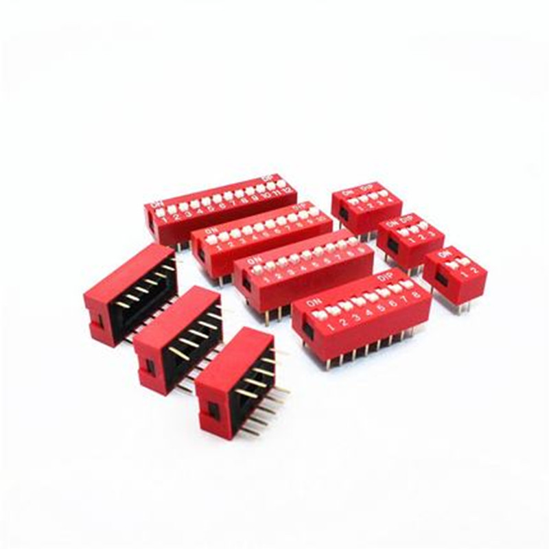 10pcs Slide Type Switch Module 1 2 3 4 5 6 7 8 Bit 2.54mm Position Way DIP Red Pitch Toggle Switch Red Snap Switch цена