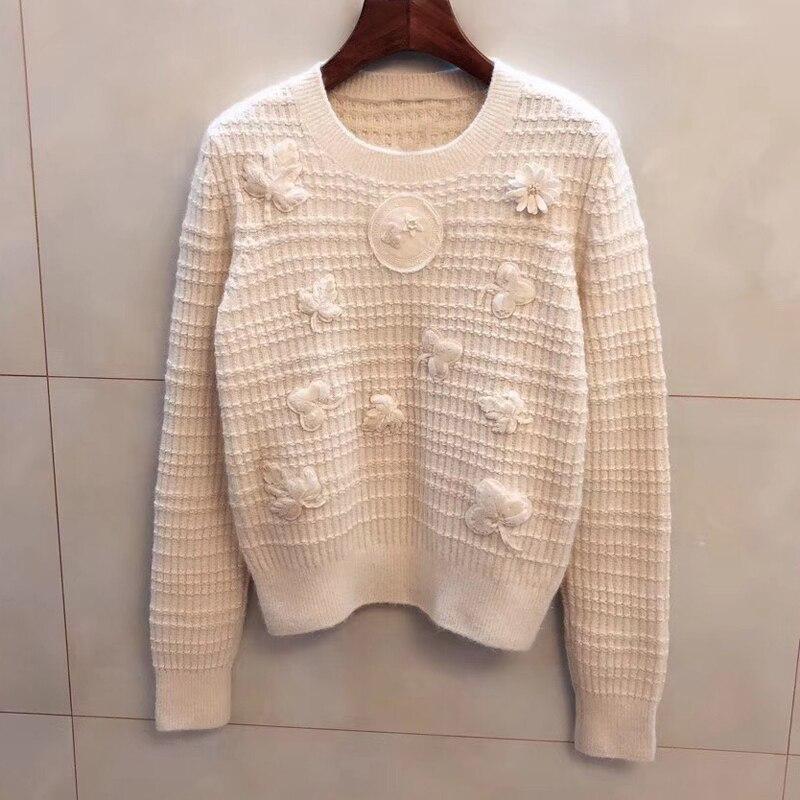 Женский свитер и пуловер осень 2019 с круглым вырезом длинный рукав свитер повседневные свитер с аппликацией женские