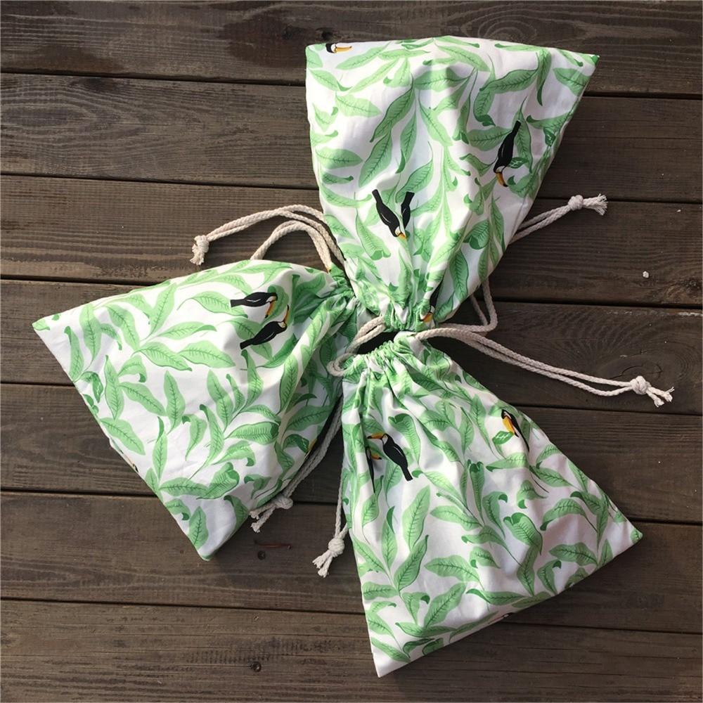 3pcs Cotton Twill Drawstring Pouch Party Gift Bag Print Green Leaf Big Mouth Black Bird YILE P17