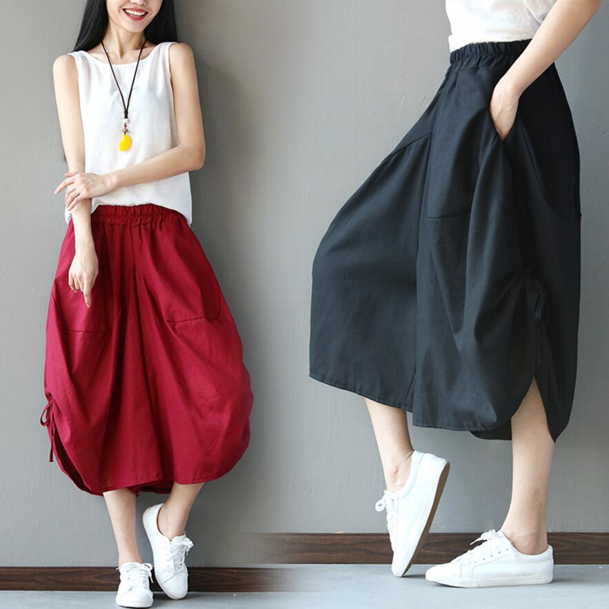 Chinese Style Calf-Length   Pants   Women Elastic Waist Cotton Linen   Wide     Leg     Pants   Folk-custom