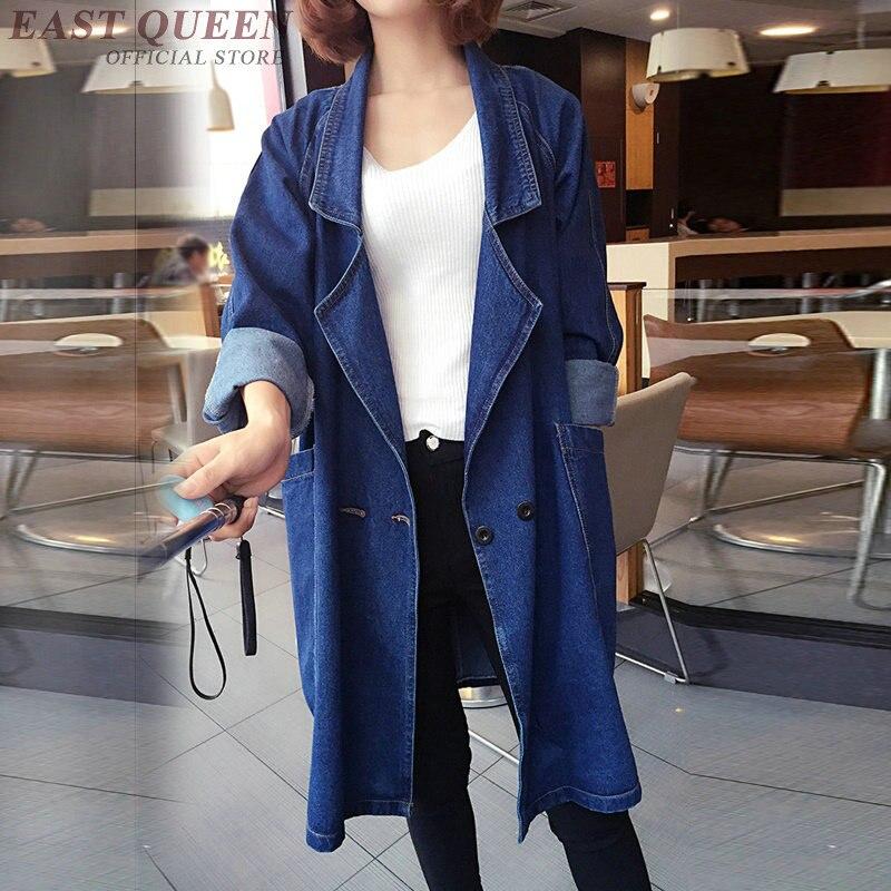 Jean   jacket   2018 women female long sleeve autumn winter   basic     jackets   coat fashion blue ladies women denim   jacket   AA3448 F