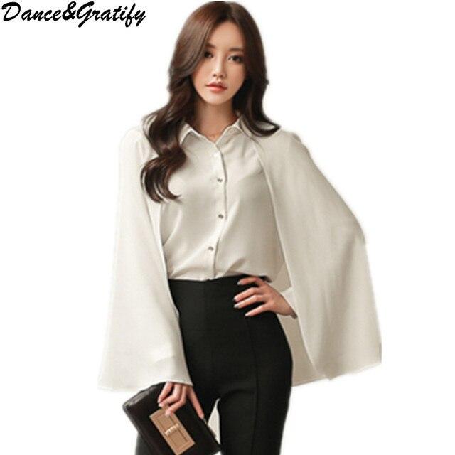 f16f7729ea8 Women Blouse Top Korea Style 2018 Summer Elegant Cloak Top Cape Shirts  Casual Work Wear Chiffon