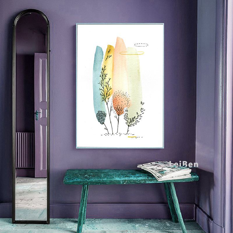 Modern Home Decoration Simple Colored Feather Canvas Painting Print Poster Picture Home Bedroom Wall Art Decoration Custom in Painting Calligraphy from Home Garden