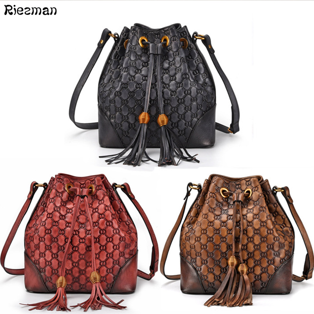 Vintage Brand Luxury Fashion Womens First Layer Cowhide Tassel Bucket Handbags Female Original Messenger Shoulder Leather Bags Vintage Brand Luxury Fashion Womens First Layer Cowhide Tassel Bucket Handbags Female Original Messenger Shoulder Leather Bags