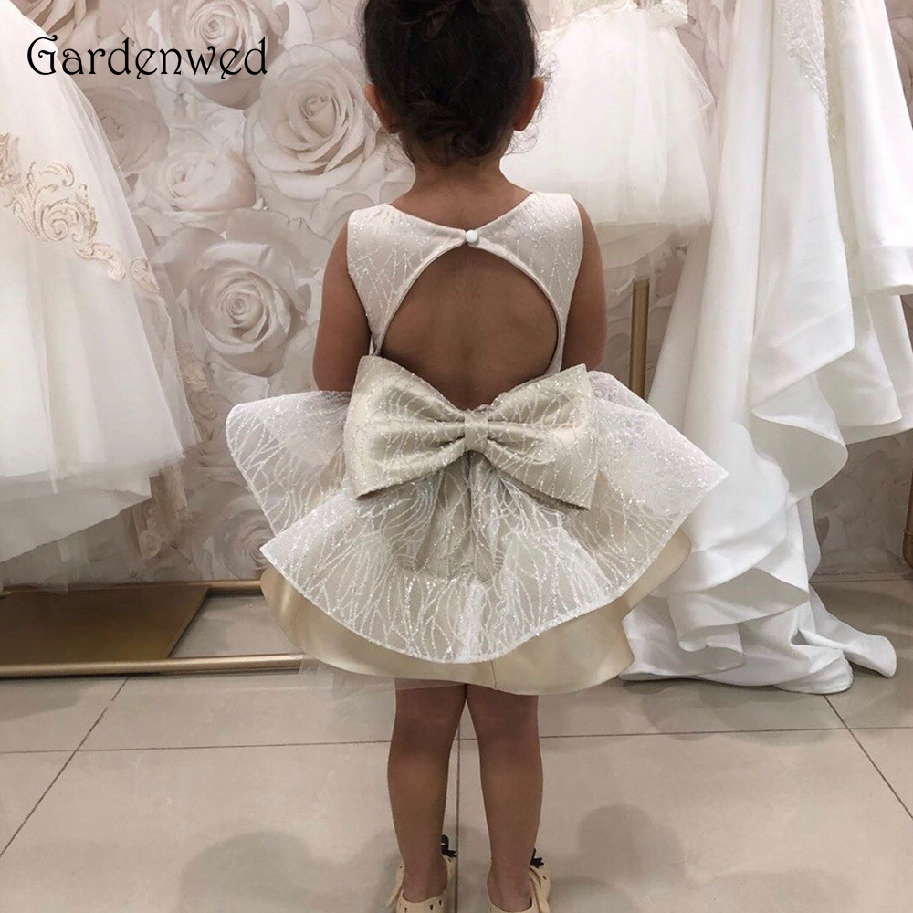 Cute Kids Evening Gowns Silver Sequin Baby Tiered Layers Skirt Bow Knot Keyhole Back Baby Girls Party Wedding Dress 2019