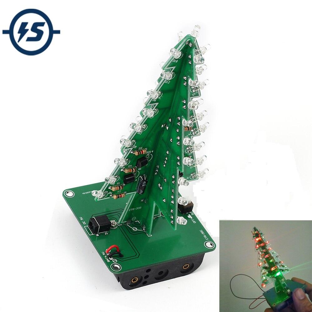 DIY אלקטרוני ערכת 7 צבעים 3D עץ חג המולד LED פלאש תלת ממדי ערכת צבעוני RGB LED מעגל כיף חג מולד חבילת מתנה