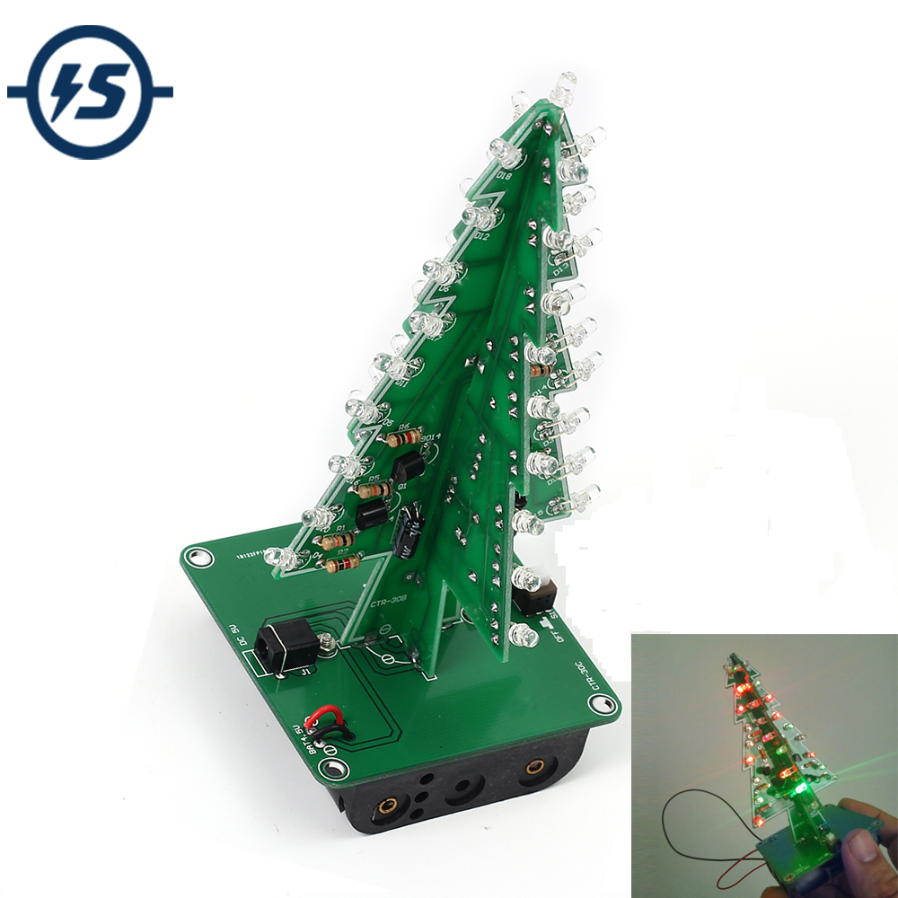 DIY Electronic Kit 7 Colors 3D Christmas Tree LED Flash Kit Three-Dimensional Colorful RGB LED Circuit Fun Suite Christmas Gift