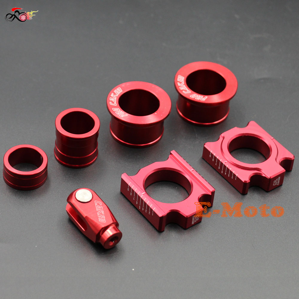 CNC Rear Chain Adjuster Axle blocks with Front & Rear Wheel Hub Spacers + Brake clevis for CR125 CRF 250X 450R Dirt bike E Moto