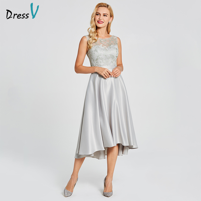 85fa387a042b Dressv Gray Bridesmaid Dress Scoop Neck Asymmetry Sleeveless A Line Lace  Elegant Custom Wedding Party Dress Bridesmaid Dress