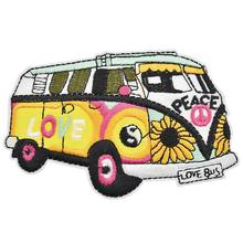 Flower Love Peace Bus Sew/Iron on Patch Badge Embroidery DIY Appliques can be customized with your logo design factory direct