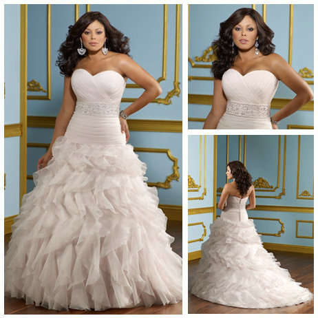 Ball Gown Organza Sweetheart Dropped Waist 2012 Hot Pink Wedding Gowns Plus  Size