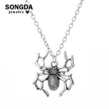 Nova chegada minimalista pingente de aranha colar punk rock moda corrente gargantilha gótico bijoux bijoux jóias