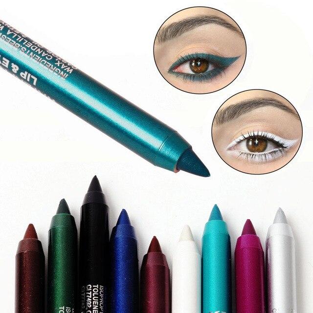 1 PC de moda de Mujeres de larga duración Lápiz Delineador de Ojos de pigmento de Color blanco impermeable Lápiz Delineador de ojos ojo cosméticos herramientas de maquillaje m1lip1294