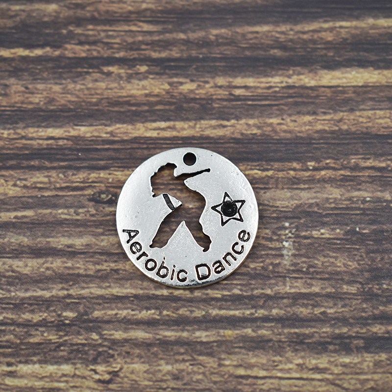 20PCS Silver Aerobic Dance Dangle Charm Jewelry Hand Stamped Alloy Metal Openwork Dangle