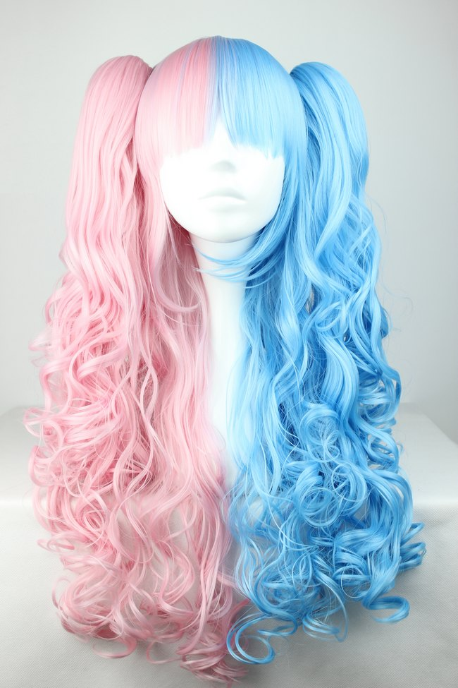 women 39 s fashion pink blue half mixed ponytails cosplay wig