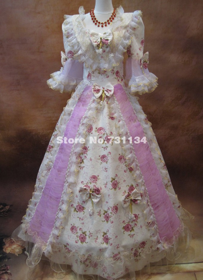 Custom Print Bow Victorian Medieval Wedding Gowns Civil War Southern Belle Ball Gown Marie Antoinette Dresses In From Womens Clothing Accessories