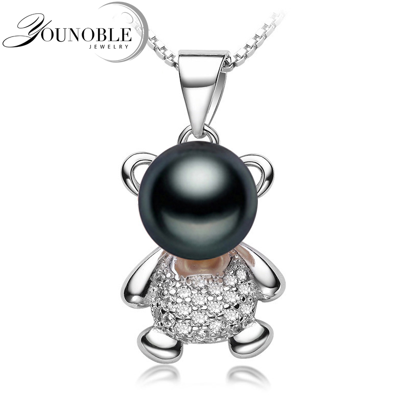 Freshwater Pearl Pendant Necklace 925 Silver Women Real Black Natural Pearl Pendants Jewelry Daughter Birthday Best