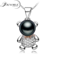 Freshwater Pearl Pendant Necklace 925 Silver Ladies,Actual Black Pure Pearl Pendants Jewellery Daughter Birthday Finest Present White