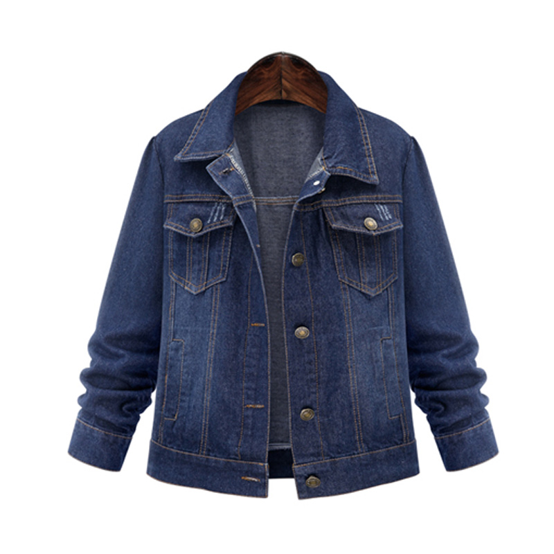 2017 Plus Size 5XL Spring Autumn font b Women b font Denim Jacket Long Sleeve Short