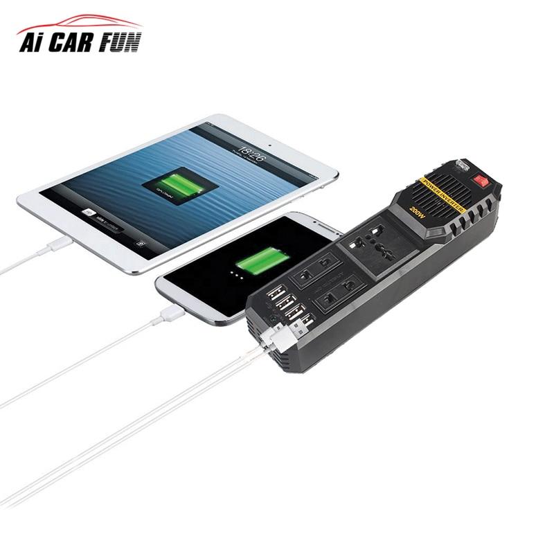 Универсальный DC 12 В в переменный ток 220 В 200 Вт инвертор для автомобиля напряжение USB силовой Инвертор адаптер конвертер Поддержка оптовая продажа