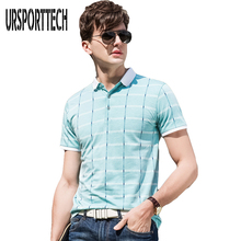 URSPORTTECH Men Polo Shirt 2018 Summer Business Casual Breathable Plaid Short Sleeve Slim Fit Work Clothes Polos