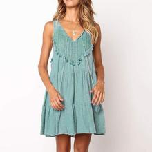 Summer Sleeveless Ruffled Hollow Out Women Dress V-neck Lace-up Fit Backless Party Dress hollow out fit