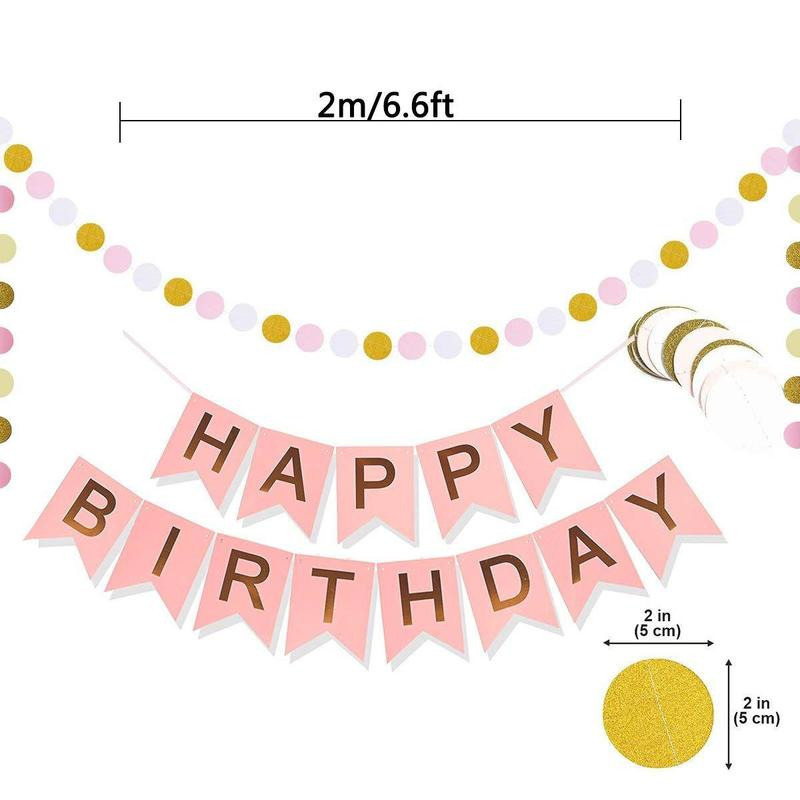 Pink 2m Party Garland Decoration Large Flag HAPPY BIRTHDAY Bunting Banner Gold