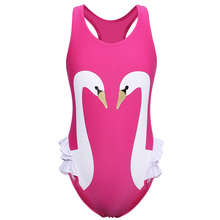BAOHULU Fashin Hot Pink Color Girls Swimwear 2018 Summer SwimSuit Kids One Piece Swimsuit Printed with Swan Patten