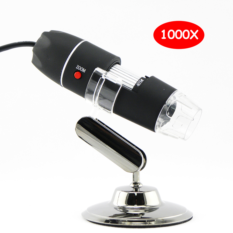 1000X HD digital USB microscope electronic microscope Camera video microscopeUSB Magnifier +calibration ruler 8 LED lights