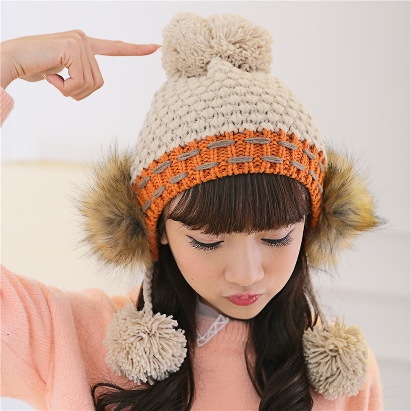 BomHCS Fashion Autumn Winter Cute Ear Muff Contrast Color Warm 100% Handmade Knitted Hairball Hat Women Beanie Cap for dell xps 9530 l522x m3800 brand new d shell bottom dp n 0d24n5