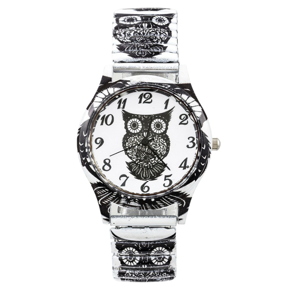 20cm Lovely Owl Watch Quartz Black Women's Watches 2020 Elastic Band Students Sports Watches Dress Bracelet Watch Wristwatch