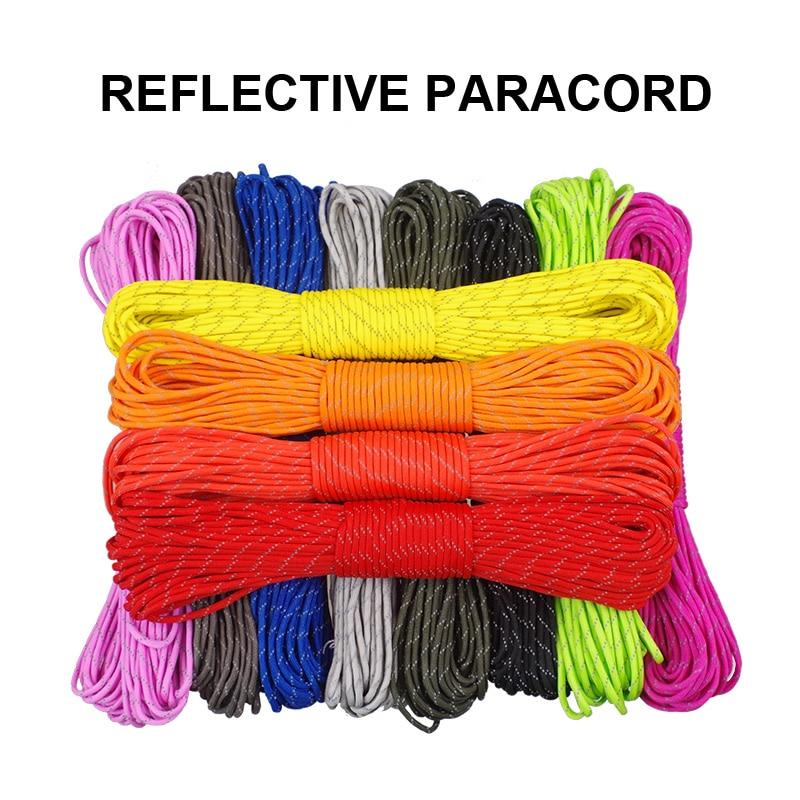 Светоотражающий Паракорд 12 цветов, 7 нитей, комплект для выживания на открытом воздухе, шнурок «сделай сам» для кемпинга, пешего туризма, пар...