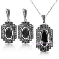 Punk And Retro Style Black Crystal Necklace And Drop Earrings Jewelry Sets N1343