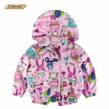 4 Colors Autumn Cute Cartoon Graffiti Girls Coats and Jackets Cotton Lining Baby Outwear Kids Jacket