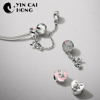 YCH 100% 925 Sterling Silver 1:1 Hot Air Balloon FLOATING CHARM VINTAGE CLIP CLIMBING SAFETY CHAIN MOMENTS Bracelet Gift Set