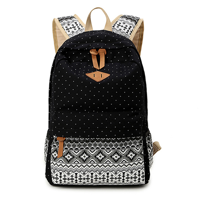 Vintage School Bags for Teenagers Girls Schoolbag Large Capacity Lady Canvas Dot Printing Backpack Rucksack Bagpack BookBag