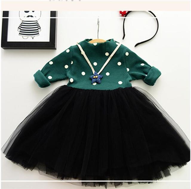 9b539c2d9 6M-5y bebé crianças bolinhas menina vestido de tule crianças de malha de  manga comprida