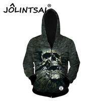 2017 Spring New Fashion Men Hoodies Zipper Hip Hop 3D Skulls Print Sweatshirt Novelty Hoodies Men