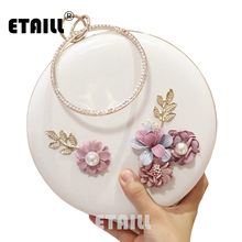 цена на ETAILL Spring Design Flower Lady Evening Bags Round Shaped Women Evening Bags Day Clutches Purse Diamonds Chain Shoulder Bag