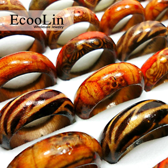 50Pcs Fashion Wooden Finger Rings For Women & Men Wood Leopard Mixed Pattern Jew