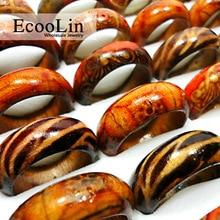 50Pcs Fashion Wooden Finger Rings For Women & Men Wood Leopard Mixed Pattern Jewelry Bulks Lots Women Mens Christmas Gift LB001