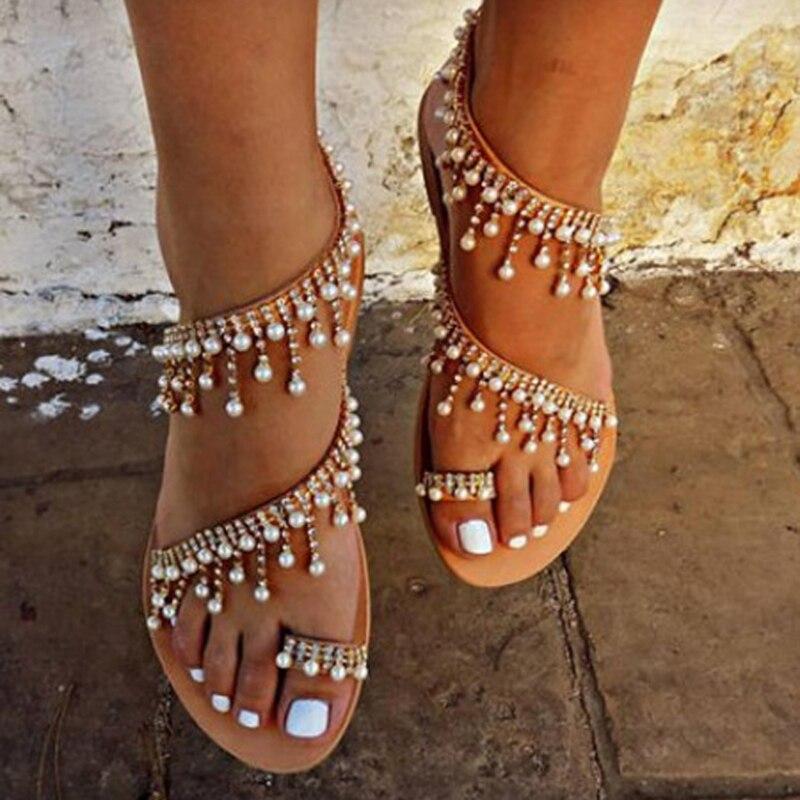 Mujeres sandalias 2018 nuevo verano Zapatos perla plana Sandalias cómodas cordón zapatillas mujeres casual tamaño 34-43
