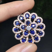 natural blue sapphire pendant S925 silver Natural gemstone Pendant Necklace trendy luxurious round Hydrangea women party jewelry