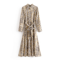 Vintage Leopard Print Ankle Length Dress Bow Tie Sashes Long Sleeve Animal Pattern Chic Robe Maxi Dress Casual Vestidos Mujer