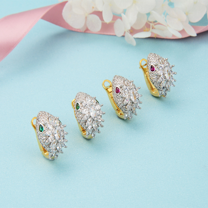 gold color Party jewelry green red cubic Zirconia animal hoop earrings for women