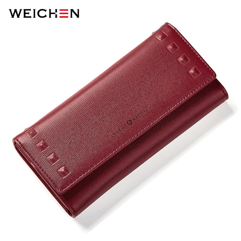 WEICHEN Brand New Rivet Designer Women Wallet Long Large Capacity Wallets Clasp Card Holder Hasp Buckle Women's Clutch Purse Bag yuanyu 2018 new hot free shipping real thai crocodile women clutches dinner long women wallet large capacity women bag