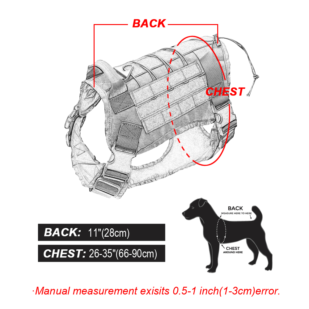 Image 5 - Tactical Dog Harness Military Service Dog Vest with Handle for  Training Adjustable Working K9 Dog Harness For Large Medium  DogsHarnesses