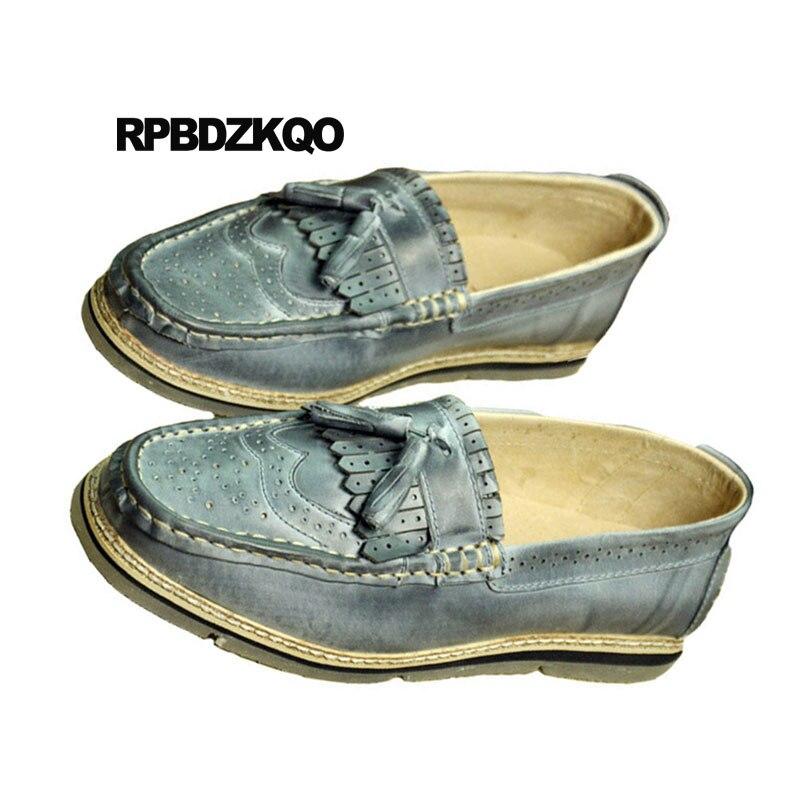Europeia Real Azul De 2018 Britânico Wingtip Apricot Estilo Homens Itália Couro Verão Sapatos Novo Genuine amarelo Brogue Retro Respirável azul Borla qTF7Az