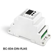 New BC-834-DIN-RJ45 DIN Rail DC12 24V 6A*4CH output,4CH Constant voltage DMX512/1990 Decoder controller for led strip, lamp bc rj45 connect led rgb rgbw 624 din bc 632 din bc 640 din 24 32 40 ch dmx512 8bit 16bit dc12v 24v strip lamp decoder