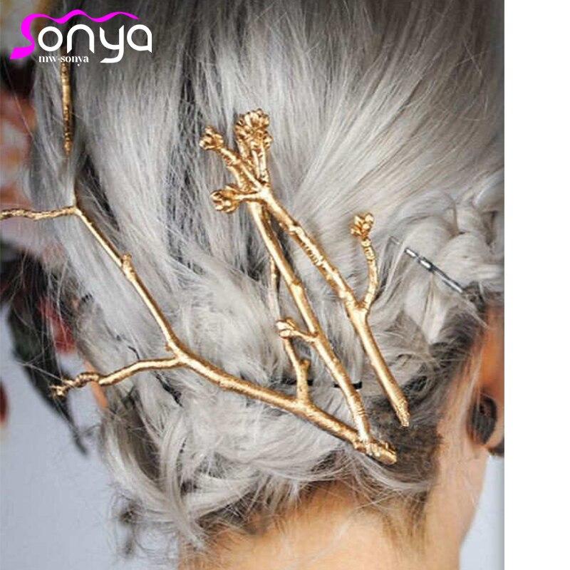 3pcs / Dəb Zərgərlik Ağacı Filialları Hairpins Qadın Saç Saçları Pinzas de pelo 4H3010